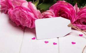 Картинка розы, сердечки, love, pink, flowers, romantic, roses, розовые розы