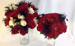 Картинка розы, красные, белые, герберы, букеты