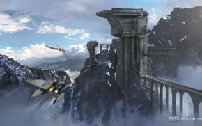 Картинка горы, башня, полёт, Castley Cloud, Ming Yee Sheh