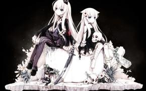 Картинка девочки, аниме, арт, неко, чёрный фон