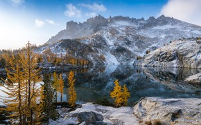 Картинка осень, деревья, горы, озеро, отражение, штат Вашингтон, Каскадные горы, Washington State, Cascade Range, Leprechaun Lake