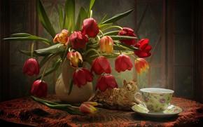 Картинка статуэтка, чашка, букет, тюльпаны, тигр