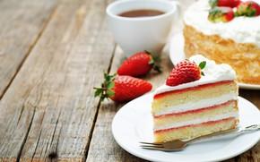 Картинка чай, сливки, клубника, торт, крем, десерт, сладкое
