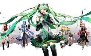 Картинка капли, аниме, Vocaloid, Вокалоид, пероснажи