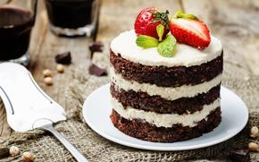 Обои еда, шоколад, клубника, торт, крем, десерт, сладкое