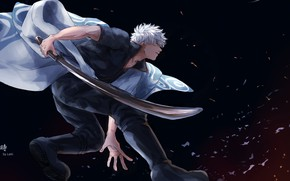 Картинка меч, аниме, самурай, парень, Gintama, Sakata Gintoki