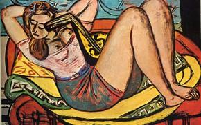 Картинка грудь, кресло, 1950, Авангард, Экспрессионизм, Макс Бекман, Женщина с мандолиной в желтом и красном