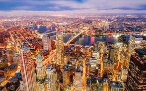 Картинка река, здания, Нью-Йорк, панорама, мосты, ночной город, Манхэттен, небоскрёбы, Manhattan, New York City, Hudson River, ...