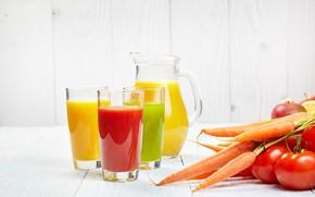 Картинка сок, напиток, томат, морковь