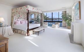 Обои отель, окно, кровать, картина, комната