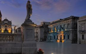 Картинка ночь, Италия, Сицилия, Сиракуза, Пьяцца Дуомо