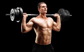 Картинка поза, фигура, muscle, мышцы, штанга, фон black, пресс, бодибилдер, bodybuilder, barbell