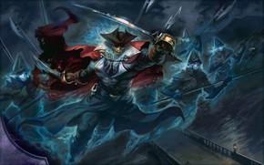 Картинка skull, sword, fantasy, pirate, hat, helmets, weapons, ship, digital art, artwork, fantasy art, spear, cape, …
