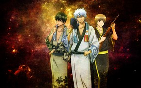 Картинка аниме, gintama, sakata gintoki, гинтама, gintoki, hijikata toshiro, okita sougo, gintoki and hijikata, окита сого, …