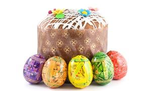 Картинка Пасха, Яйца, Еда, Кулич, Праздники, Белый Фон