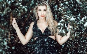 Картинка зима, взгляд, снег, ветки, портрет, руки, платье, блондинка, Andreas-Joachim Lins, Miriam Brs