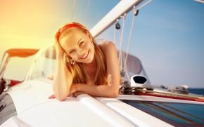 Картинка девушка, улыбка, настроение, яхта
