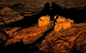 Картинка закат, горы, скалы, тень, Аризона, США, Катедрал Рок