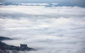 Картинка природа, город, туман