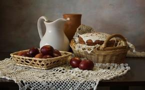 Картинка стол, корзина, яйца, пасха, ваза, кувшин, натюрморт, кулич, скатерть