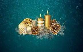 Обои Подарок, Шишки, Снег, Новый год, Зима, Минимализм, Свечи, Праздник, Ветка, Настроение, Фон