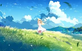 Обои девочка, лето, аниме, арт, природа