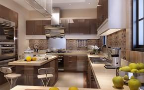 Картинка яблоки, мебель, кухня, лимоны, MAIN KITCHEN AREA