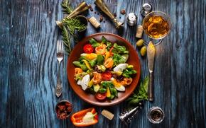 Картинка зелень, сыр, хлеб, овощи, помидоры, wood, салат, специи, базилик