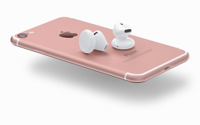 Картинка logo, smartphone, iPhone, technology, headset, pink, iPhone 7, smartphones, airpods, headset wireless, high tech, cell ...