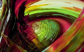 Картинка стекло, макро, линии, краски, объем