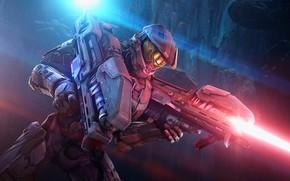 Картинка оружие, фантастика, лазер, шлем, Halo, броня, шутер, Master Chief, Spartan Laser