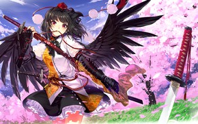 Картинка девушка, ангел, Тоухоу