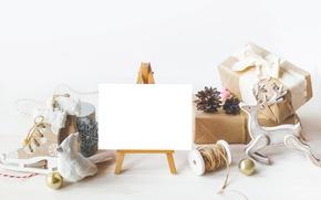 Картинка Новый Год, Рождество, white, vintage, шишки, merry christmas, decoration, xmas