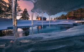 Картинка снег, дом, лёд, сосульки, Ice Cave