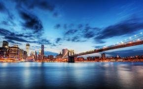 Обои my planet, лето, красивый вид, travel, пролив Ист-Ривер, вечер огни, размытость, боке wallpaper., город, Нью-Йорк, ...