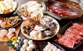 Картинка грибы, мясо, морепродукты, блюда, ассорти, моллюски