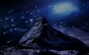 Картинка снег, горы, ретушь, падающие звезды, фантаcтика