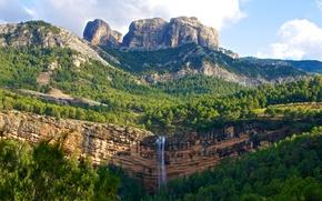 Картинка лес, скалы, деревья, водопад, природа, горы