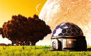 Картинка деревья, планета, R2-d2 Dome House