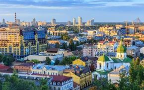 Обои Ukraine, небо, Украина, Киев, крыши, панорама, дома, церковь, небоскребы, Kiev