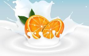 Картинка фон, апельсин, молоко, цитрус