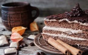 Картинка сладость, торт, корица, кофейные зерна