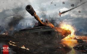 Картинка взрыв, танк, сражение, War Thunder, T-10