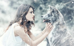 Обои собака, снег, Alessandro Di Cicco, девушка, настроение, дружба, друзья, Arianna Storace