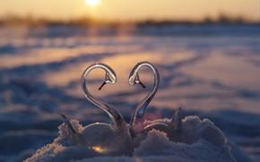 Обои зима, стекло, солнце, снег, закат, отражение, река, верность, фантазии, романтика, берег, сердце, встреча, красота, позитив, ...