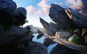 Картинка небо, облака, скалы, водоём, Octane render quick test