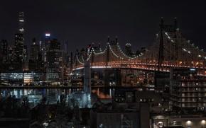 Обои Roosevelt Island, ночь, New York