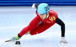 Обои бег на коньках, лед, стадион, шорт-трек, спортсмен