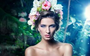 Картинка взгляд, цветы, фон, портрет, макияж, освещение, брюнетка, прическа, красотка, боке
