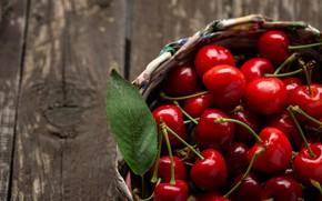 Картинка ягоды, корзина, fresh, wood, черешня, cherry, berries